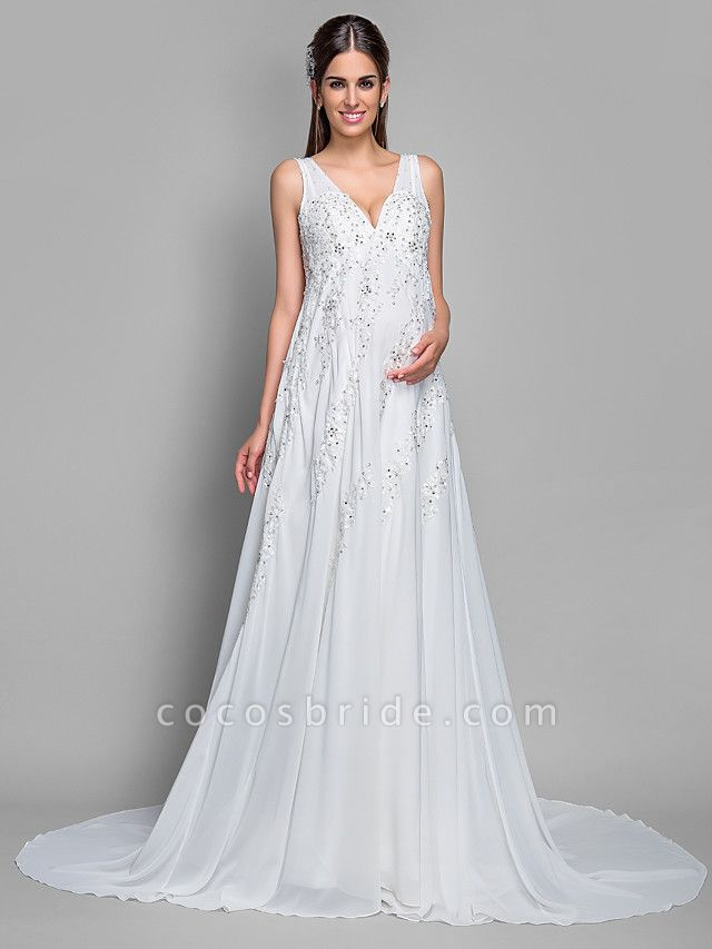 A-Line V Neck Court Train Chiffon Lace Regular Straps Glamorous Illusion Detail Backless Wedding Dresses