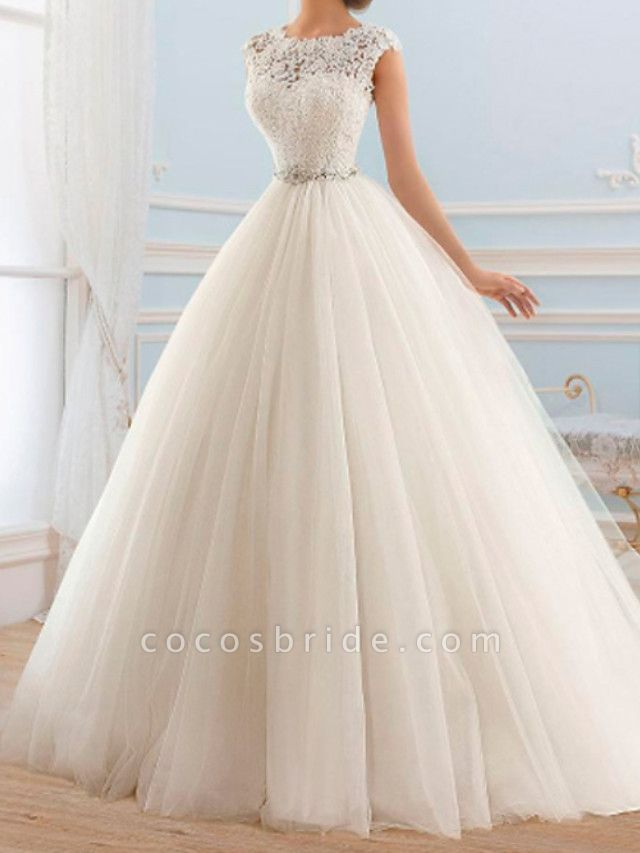 Ball Gown Wedding Dresses Jewel Neck Sweep \ Brush Train Lace Tulle Cap Sleeve Glamorous Vintage Sparkle & Shine Illusion Detail