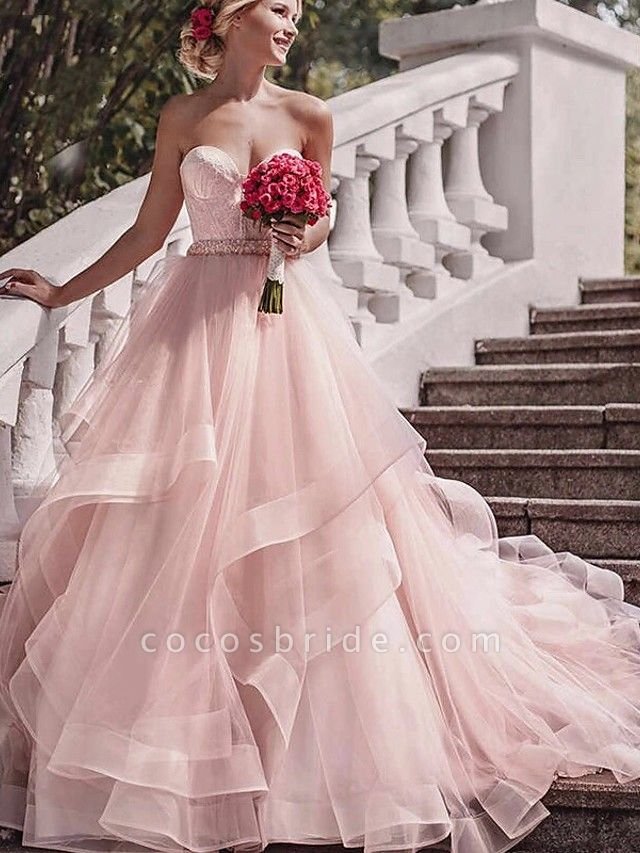 Ball Gown Wedding Dresses Strapless Court Train Lace Tulle Strapless Sexy Wedding Dress in Color Plus Size