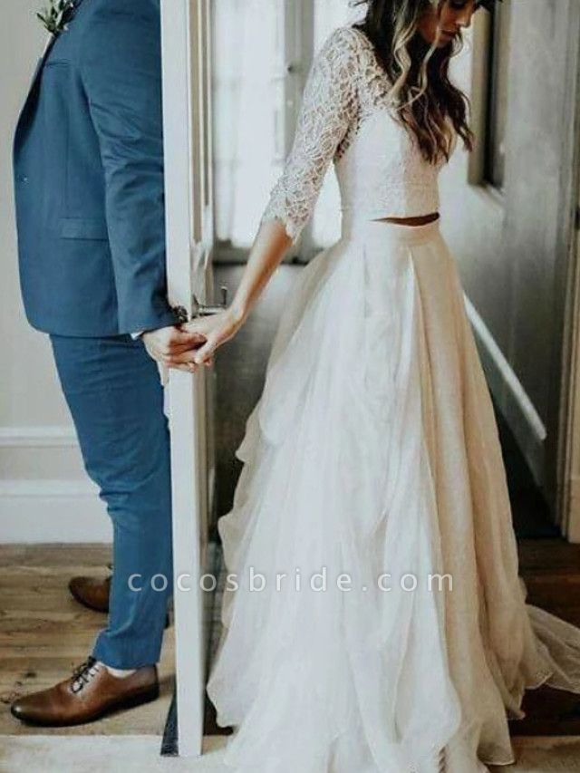 A-Line Wedding Dresses V Neck Sweep \ Brush Train Tulle 3\4 Length Sleeve See-Through Illusion Detail