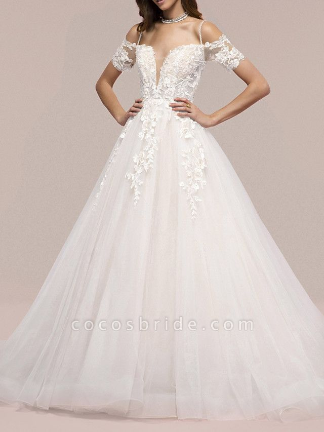 A-Line Wedding Dresses V Neck Sweep \ Brush Train Lace Short Sleeve Formal