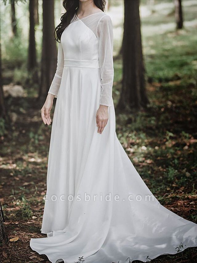 A-Line Wedding Dresses V Neck Court Train Chiffon Satin Long Sleeve Simple Elegant