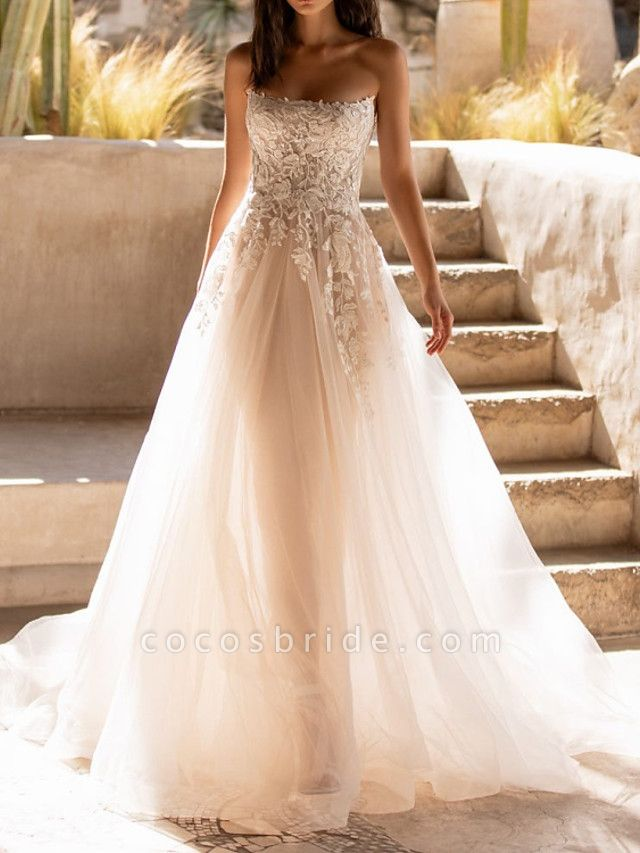 A-Line Wedding Dresses Sweetheart Neckline Sweep \ Brush Train Tulle Sleeveless Formal See-Through