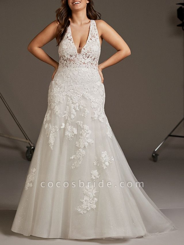 Mermaid \ Trumpet Wedding Dresses V Neck Sweep \ Brush Train Lace Tulle Regular Straps Plus Size