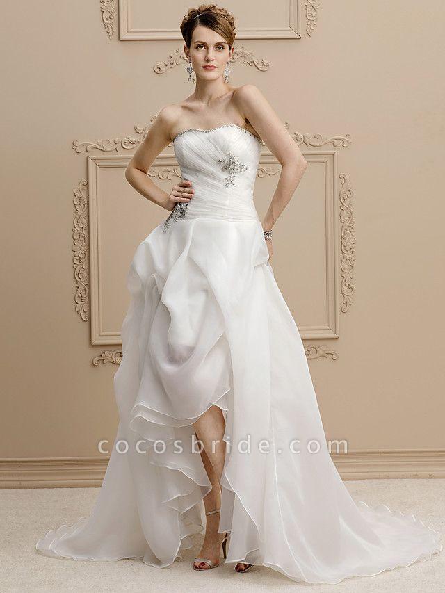 A-Line Wedding Dresses Strapless Asymmetrical Organza Sleeveless Open Back