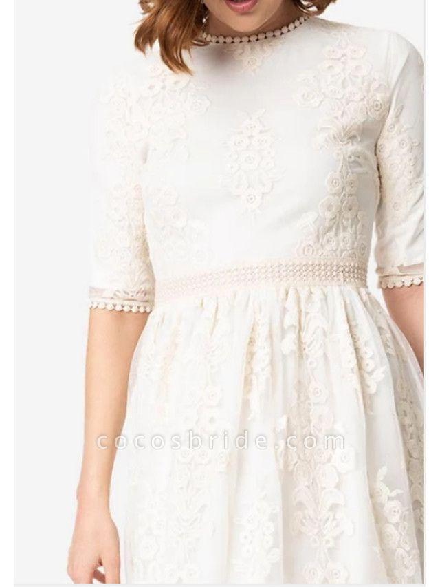 A-Line Wedding Dresses Jewel Neck Knee Length Chiffon Tulle Half Sleeve
