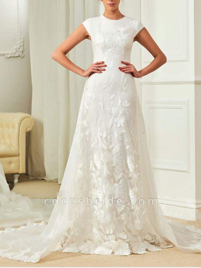 A-Line Wedding Dresses Jewel Neck Sweep \ Brush Train Detachable Lace Organza Satin Cap Sleeve Simple