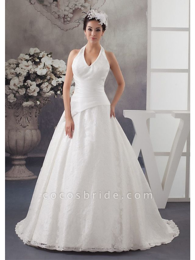 A-Line Halter Neck Court Train Lace Satin Spaghetti Strap Wedding Dresses