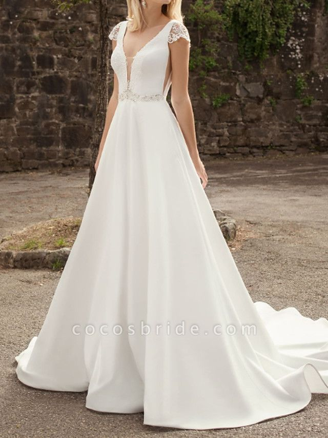 A-Line Wedding Dresses V Neck Sweep \ Brush Train Lace Chiffon Over Satin Cap Sleeve Country Plus Size