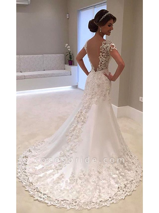 Mermaid \ Trumpet Wedding Dresses V Neck Court Train Lace Tulle Lace Over Satin Cap Sleeve Glamorous Backless