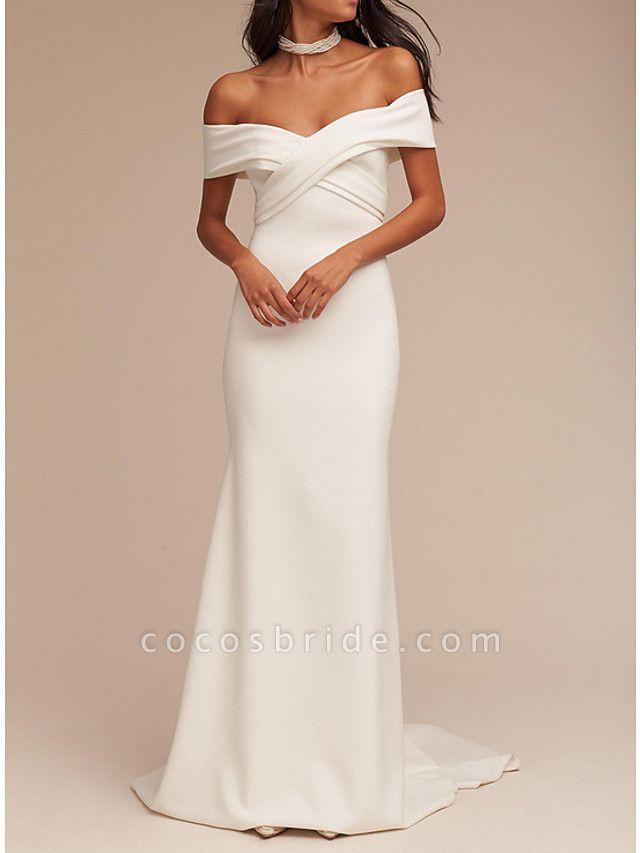 Mermaid \ Trumpet Wedding Dresses V Neck Sweep \ Brush Train Satin Regular Straps Formal Plus Size
