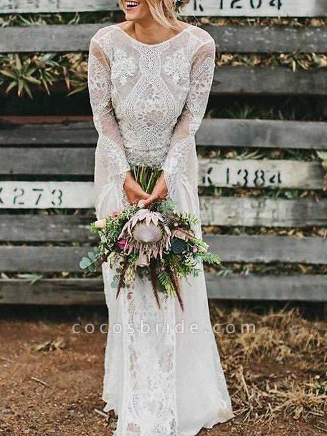 A-Line Wedding Dresses Jewel Neck Sweep \ Brush Train Chiffon Lace Long Sleeve Beach Boho Sexy