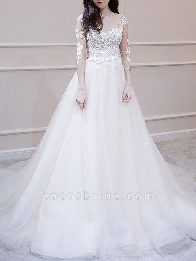 A-Line Wedding Dresses V Neck Court Train Lace Tulle 3\4 Length Sleeve Illusion Sleeve