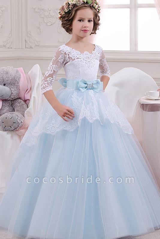 Scoop Neck 3/4 Sleeves Ball Gown Flower Girls Dress