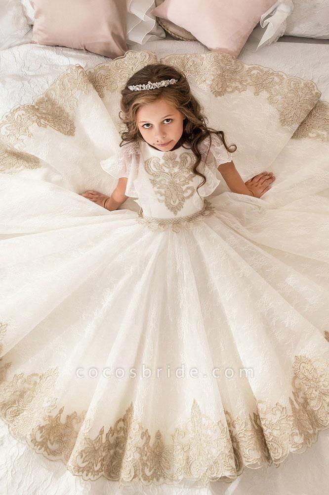 Scoop Neck Short Sleeves Ball Gown Flower Girls Dress