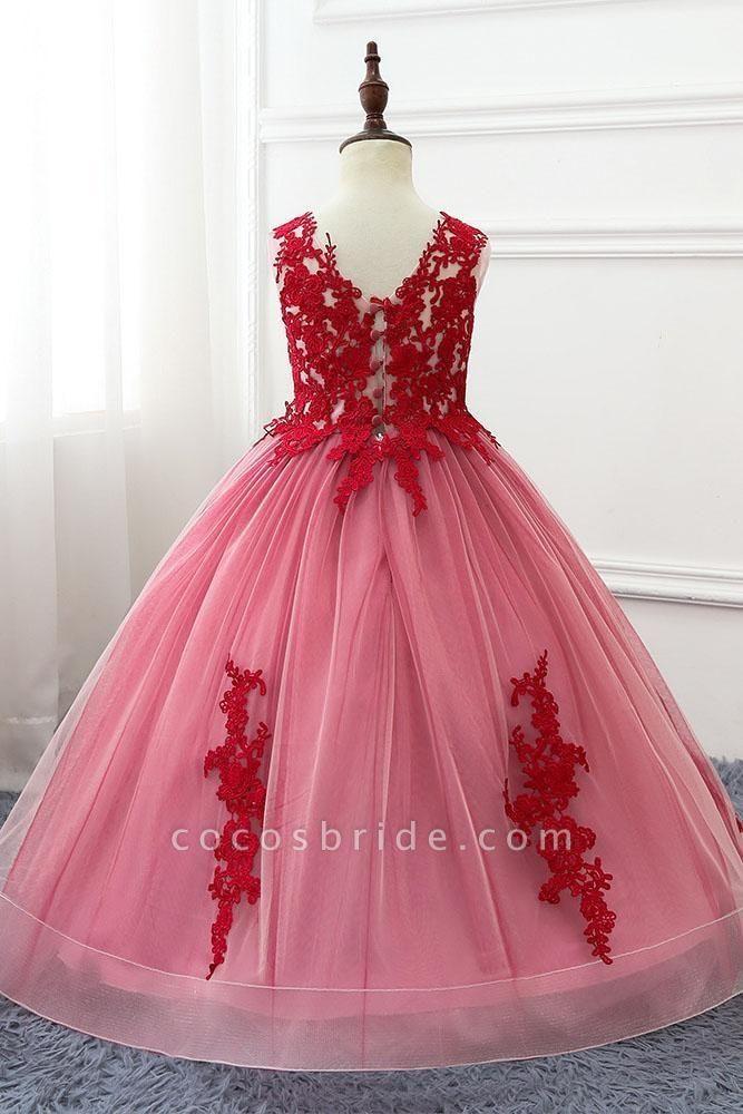 Red V-Neck Sleeveless Ball Gown Flower Girls Dress