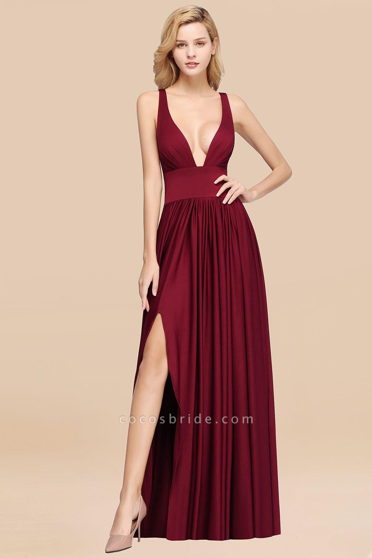 BM0141 A-Line V-Neck Sleeveless Long Ruffles Bridesmaid Dress