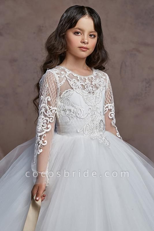 Scoop Neck Long Sleeves Ball Gown Flower Girls Dress