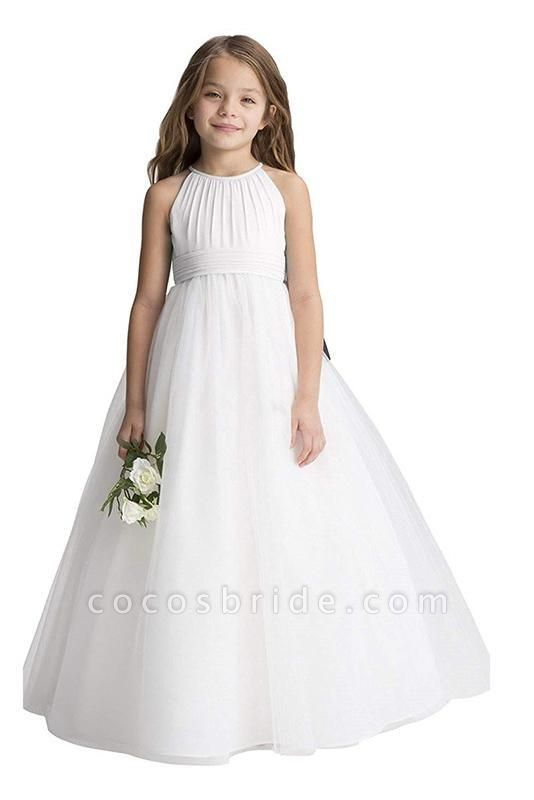 Ivory Scoop Neck Sleeveless Ball Gown Flower Girls Dress