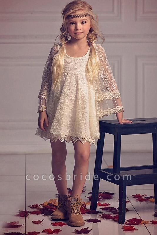 Ivory Scoop Neck Long Sleeves A-Line Flower Girls Dress