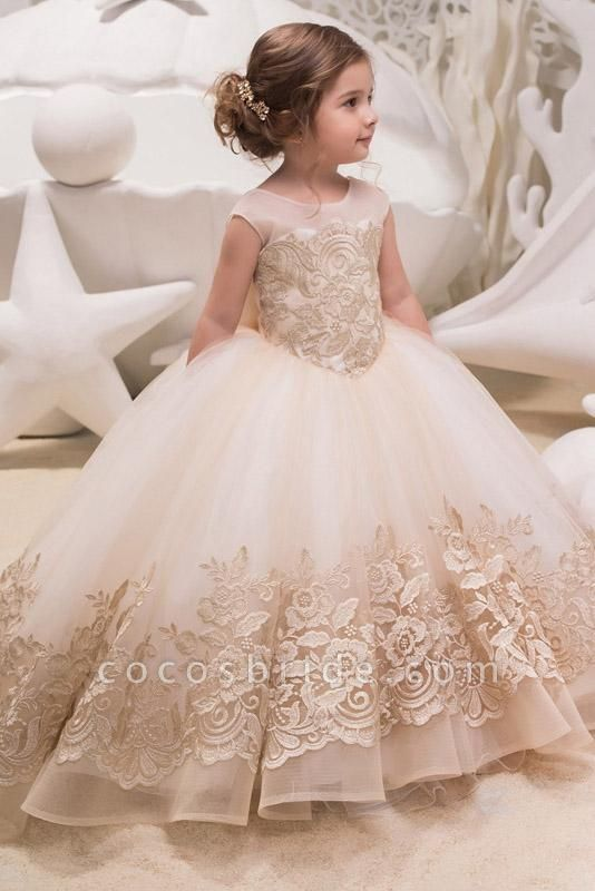Beige Scoop Neck Sleeveless Ball Gown Flower Girls Dress