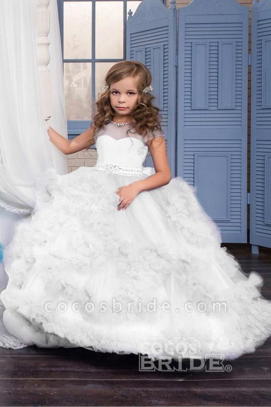 Violet Scoop Neck Short Sleeves Ball Gown Flower Girls Dress
