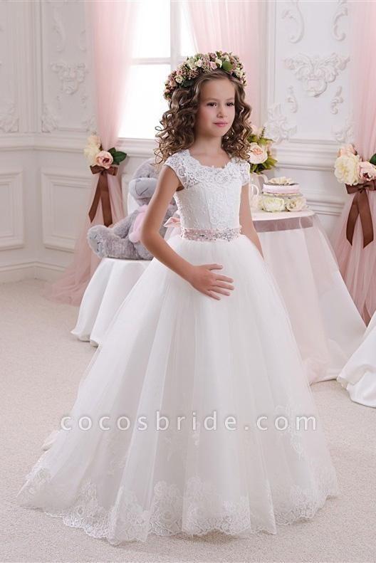 White Scoop Neck Short Sleeves Ball Gown Flower Girls Dress