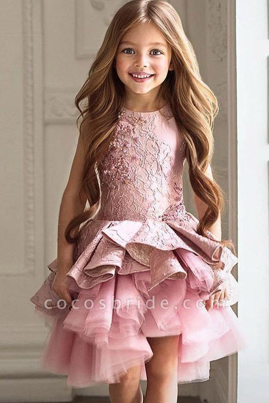 Pink Scoop Neck Sleeveless Ball Gown Flower Girls Dress