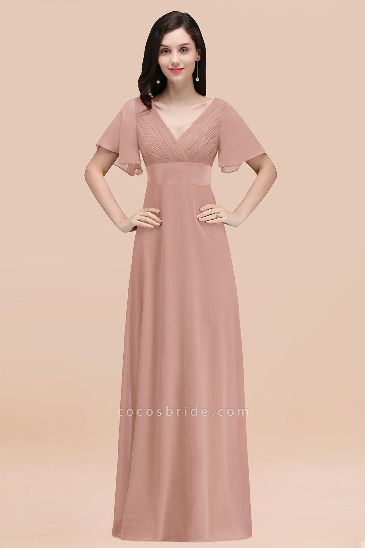 Simple A-Line Chiffon V-Neck Short-Sleeves Ruffles Floor-Length Bridesmaid Dresses