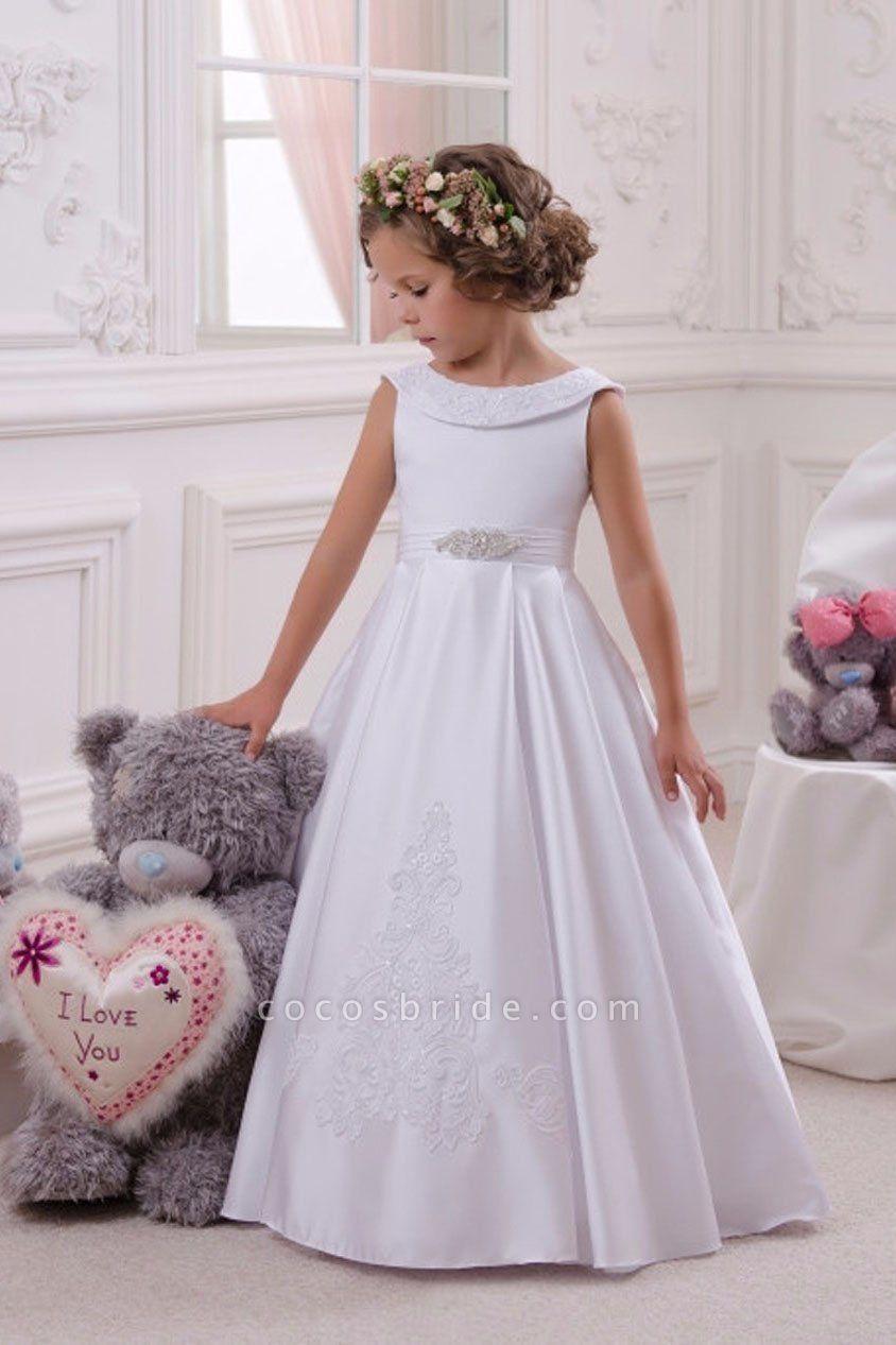 White Scoop Neck  Sleeveless Ball Gown Flower Girls Dress