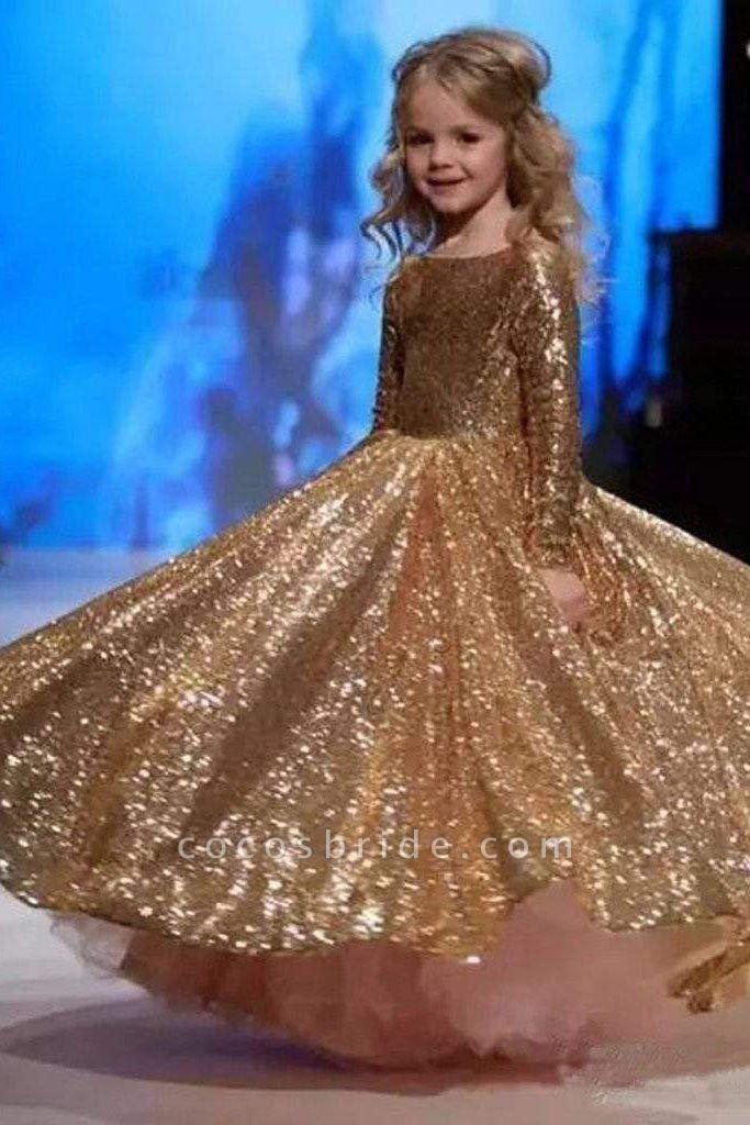 Golden Scoop Neck Long Sleeves Princess Dress