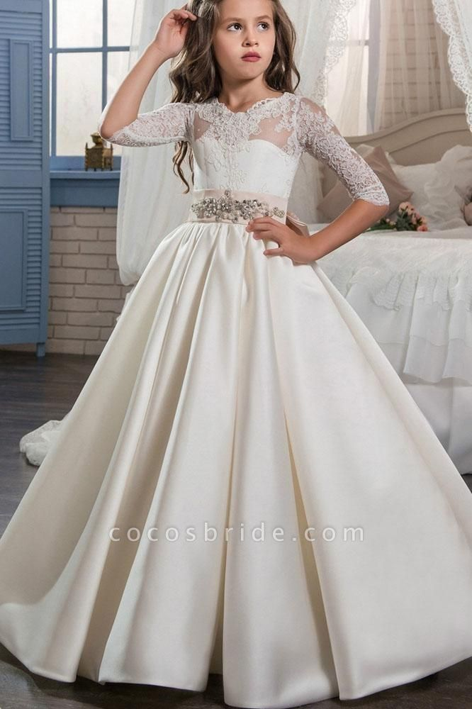 Ivory Scoop Neck Long Sleeves Ball Gown Flower Girls Dress