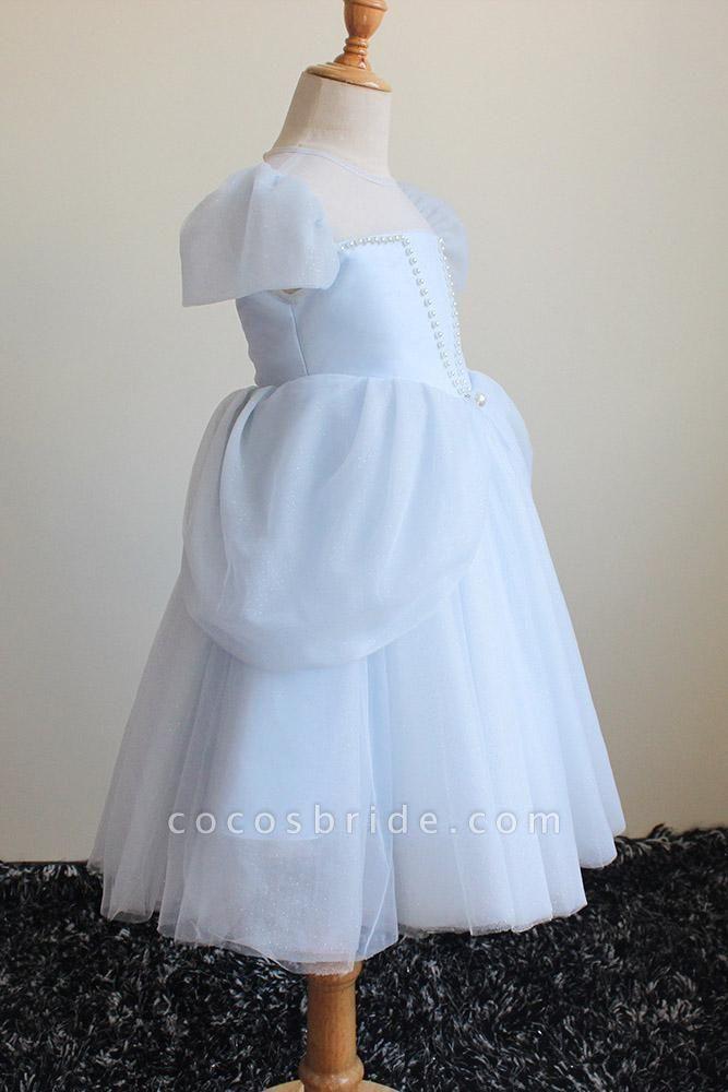 Light Blue Scoop Neck Short Sleeves Ball Gown Dress
