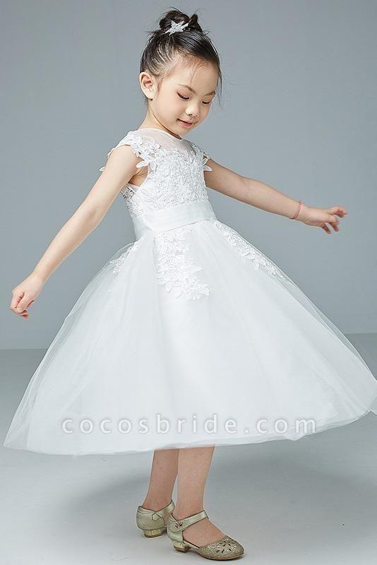 Beige Scoop Neck Short Sleeves Ball Gown Flower Girls Dress
