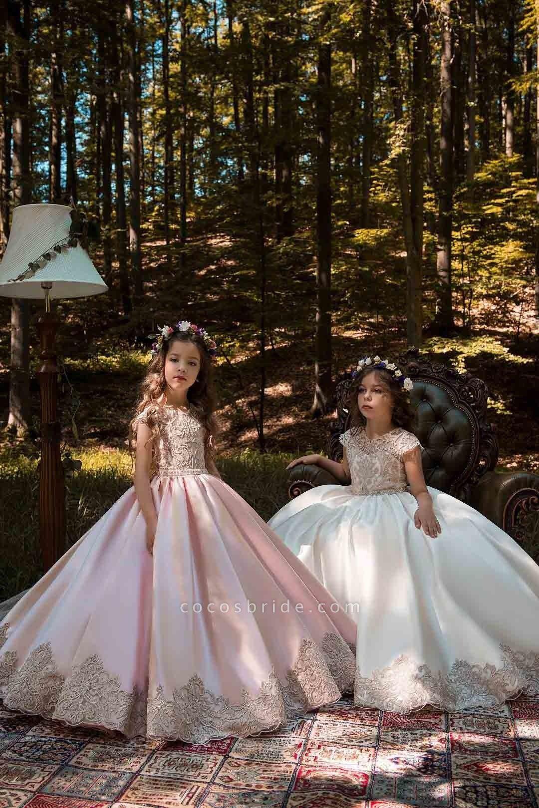 Light Pink Scoop Neck Short Sleeves Ball Gown Flower Girls Dress