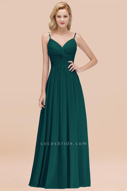 A-Line Chiffon V-Neck Spaghetti Straps Floor-Length Bridesmaid Dresses