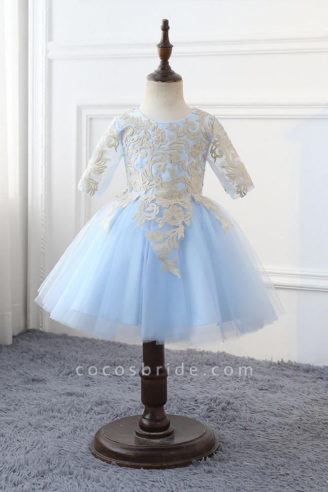 Light Blue Scoop Neck 1/2 Sleeves Ball Gown Flower Girls Dress