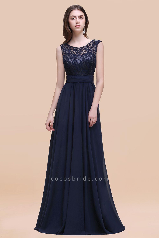 Elegant A-line Chiffon Lace Scoop Sleeveless Floor-Length Bridesmaid Dress