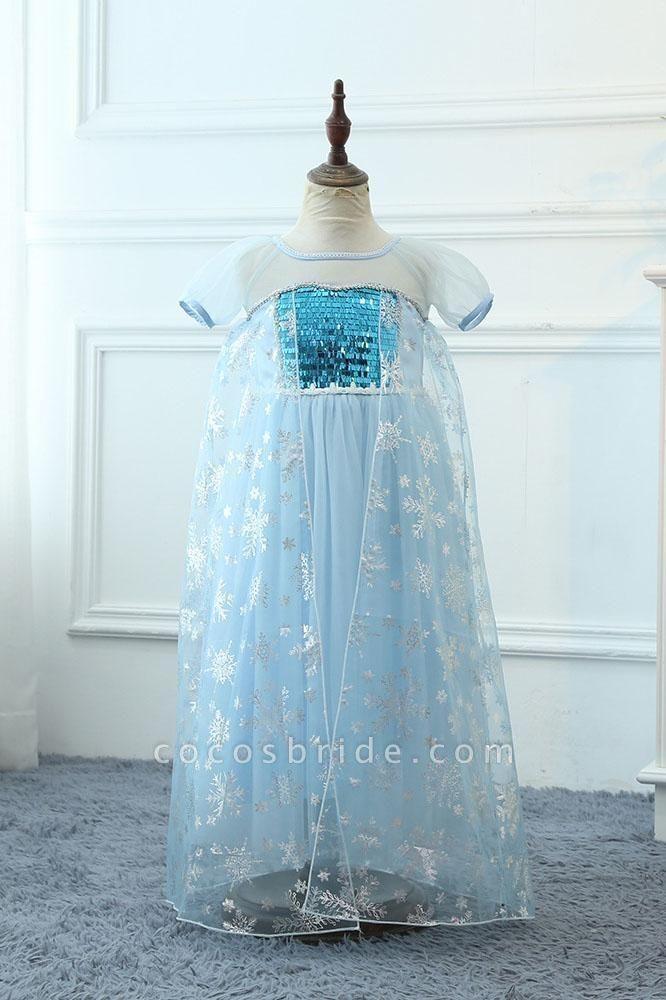 Light Blue Short Sleeves  Scoop Neck A-line Flower Girl Dresses