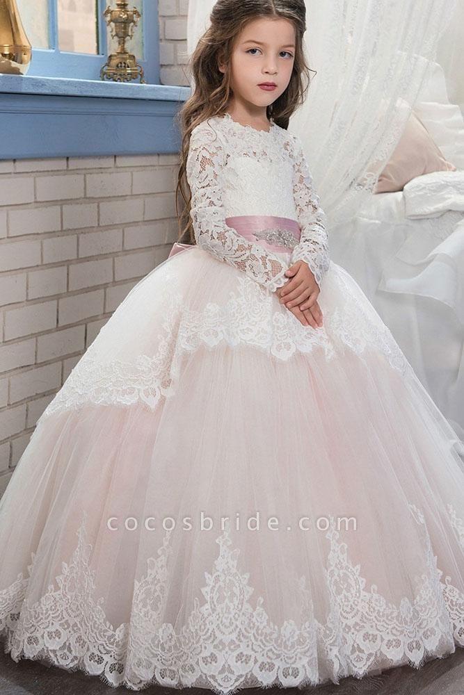 Purple Scoop Neck Long Sleeves Ball Gown Flower Girls Dress