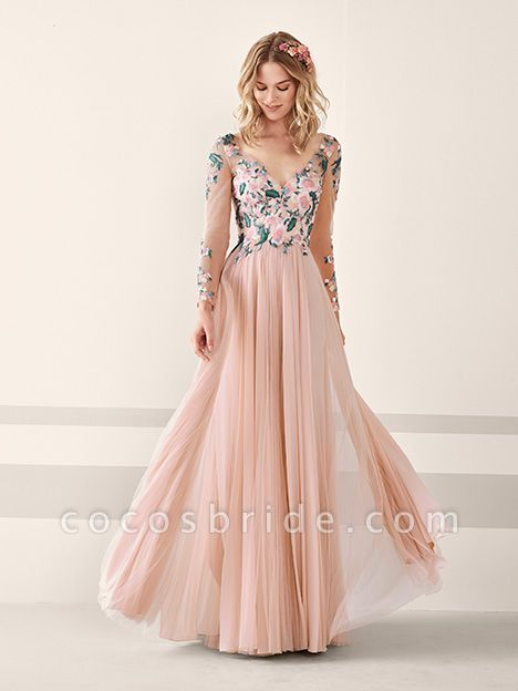 A-line Long Sleeve Appliques Tulle Prom Dresses