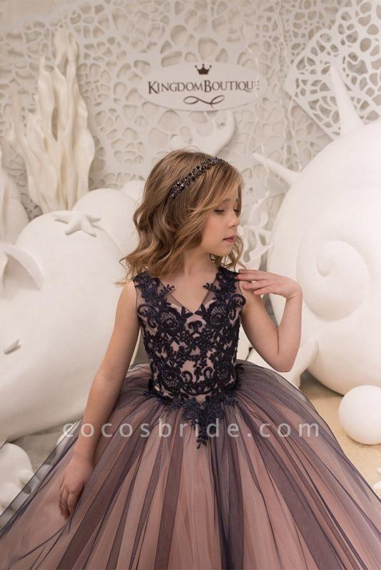 V-Neck Sleeveless Ball Gown Flower Girls Dress