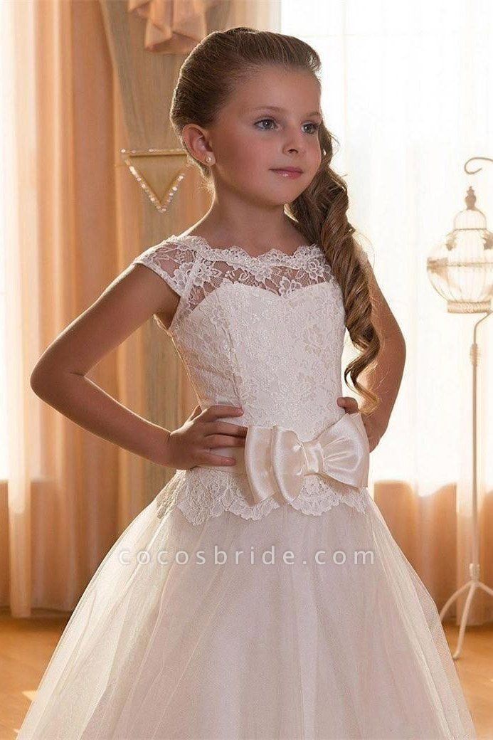 Beige Scoop Neck Short Sleeves Ball Gown Flower Girls Dress