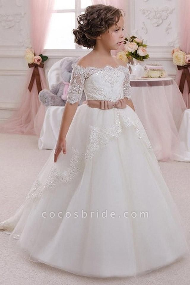 White Off The Shoulder 1/2 Sleeves Ball Gown Flower Girls Dress