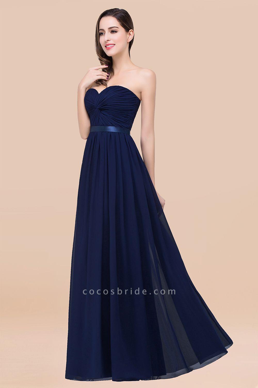 Elegant A-Line Chiffon Sweetheart Sleeveless Floor-Length Bridesmaid Dress with Ribbon