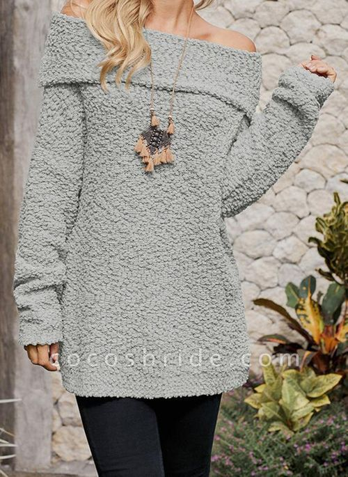 Off the Shoulder Solid Casual Loose Regular Shift Sweaters