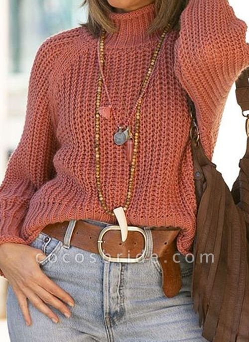 High Neckline Solid Casual Loose Short Shift Sweaters
