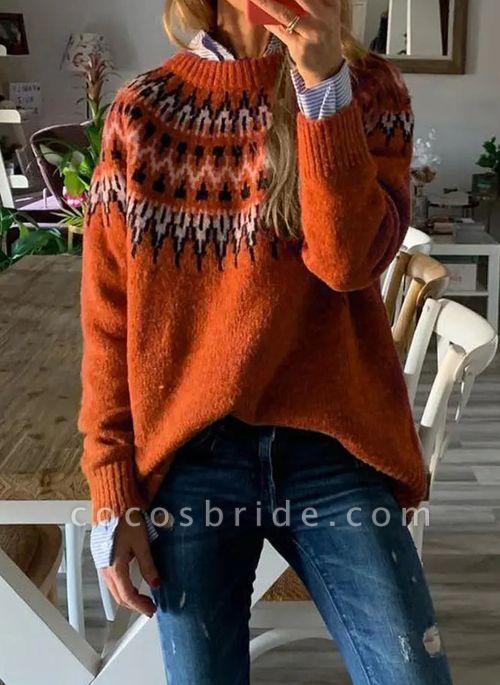 Round Neckline Geometric Vintage Loose Regular A-line Sweaters