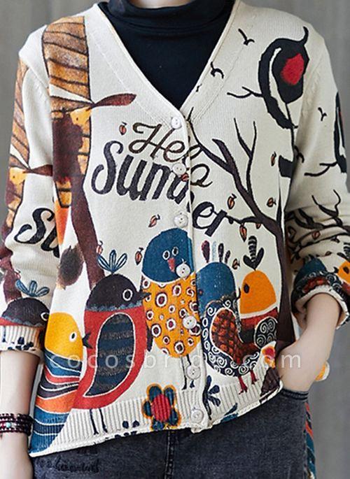 V-Neckline Color Block Casual Loose Regular Buttons Sweaters
