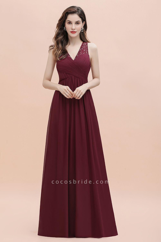 V-Neck A-line Chiffon Sleeveless Evening Maxi Dress